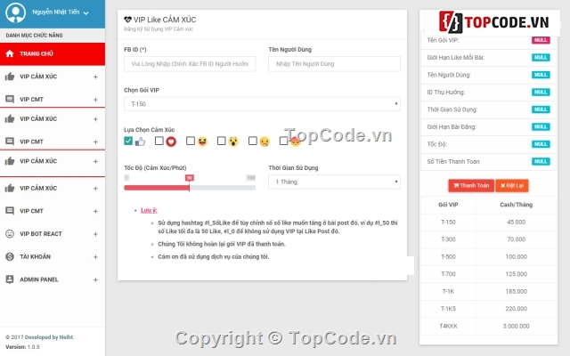Code web Vip autolike , vip autocomments , vip autoshare facebook full chức  năng